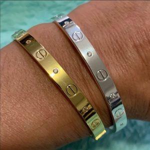 Love bracelet CZ diamond 18k white gold plated